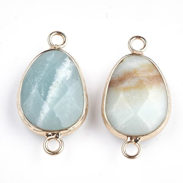 Natural Faceted Amazonite Link 25x13mm Nickel Free