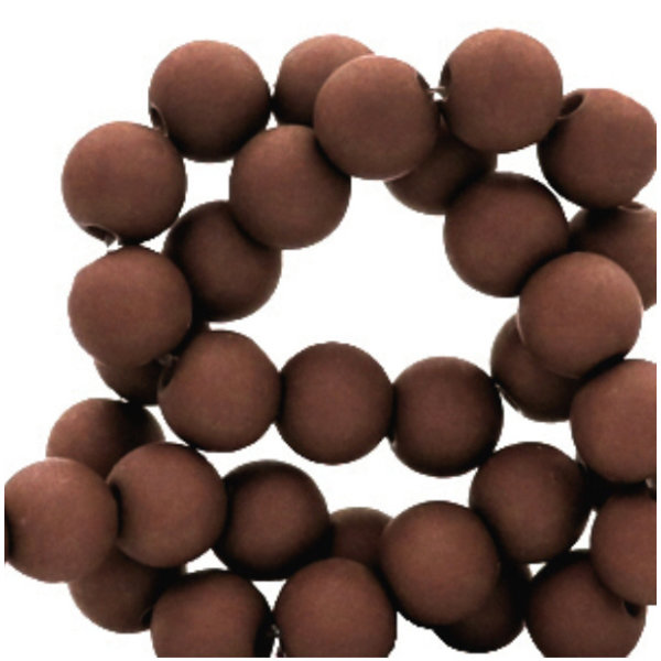 100 pieces Matte Dark Brown Acrylic Beads 6mm