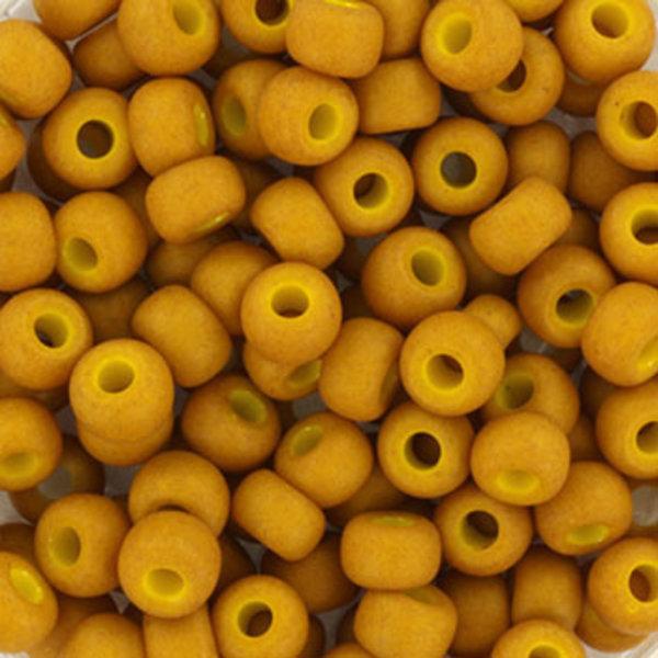 Miyuki Rocailles 4mm 6/0 Opaque Matte Mustard, 10 gram
