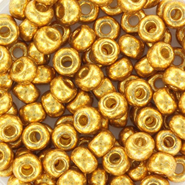 Miyuki Rocailles 4mm 6/0 Duracoat Galvanized Gold, 10 gram