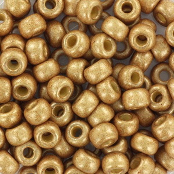Miyuki Seed Beads 4mm 6/0 Duracoat Galvanized Matte Champagne, 10 grams