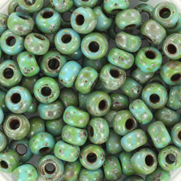 Miyuki Rocailles 4mm 6/0 Opaque Picasso Turquoise Blue, 10 gram