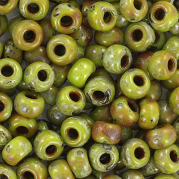 Miyuki Seed Beads 4mm 6/0 Opaque Picasso Chartreuse, 10 grams