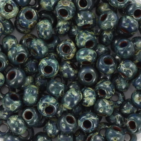 10 grams Miyuki Seed Beads 4mm 6/0 Opaque Picasso Dark Teal