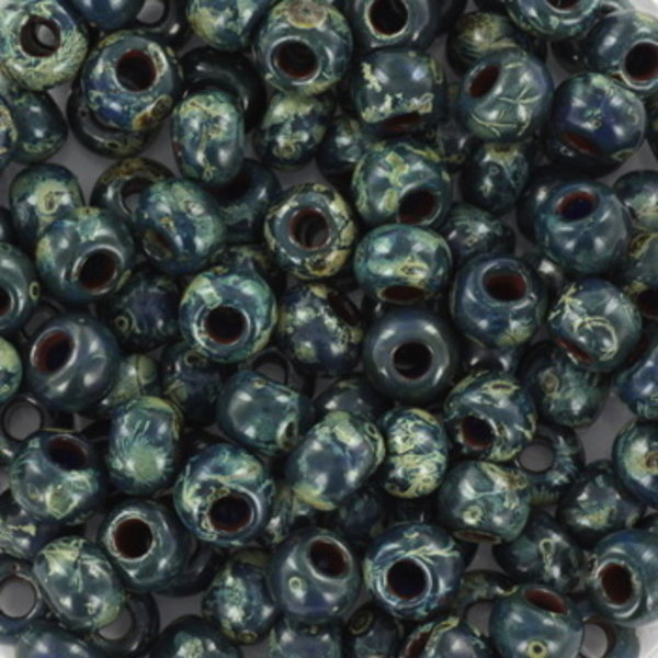 Miyuki Rocailles 4mm 6/0 Opaque Picasso Dark Teal, 10 gram