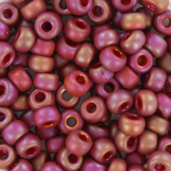 Miyuki Seed Beads 4mm 6/0 Opaque Glazed Frosted Rainbow Dark Red, 10 grams