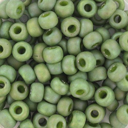 10 grams Miyuki Seed Beads 4mm 6/0 Opaque Glazed Frosted Rainbow Pistachio