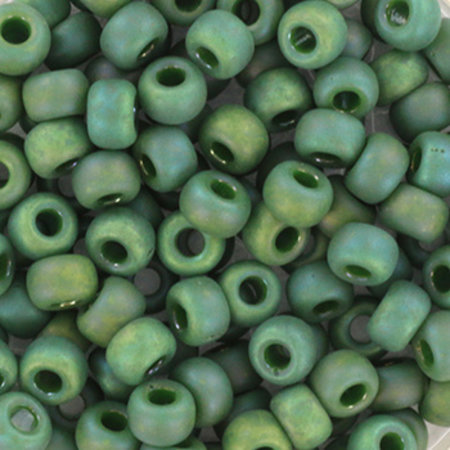 10 grams Miyuki Seed Beads 4mm 6/0 Opaque Glazed Frosted Rainbow Turtle Green
