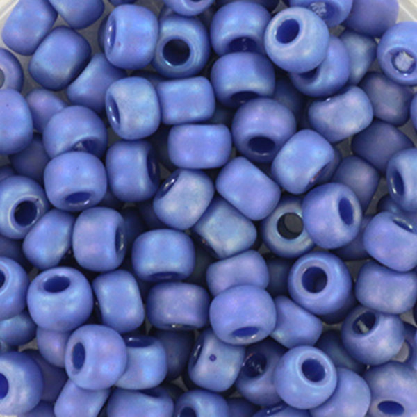 Miyuki Seed Beads 4mm 6/0 Opaque Glazed Frosted Rainbow Soft Blue, 10 grams