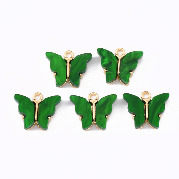 Butterfly Charm Acrylic Gold Green 14x16mm