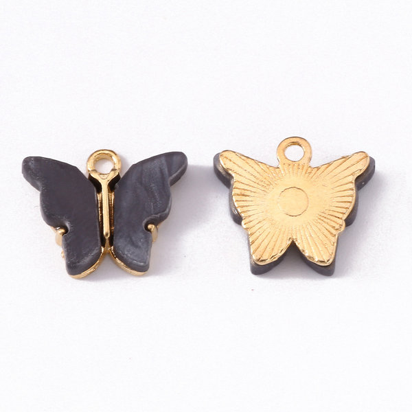 Butterfly Charm Acrylic Gold Anthracite 14x16mm