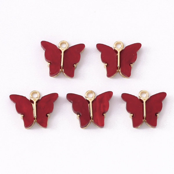 Butterfly Charm Acrylic Gold Red 14x16mm