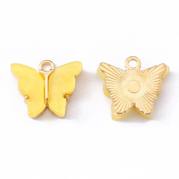Butterfly Charm Acrylic Golden Yellow 14x16mm
