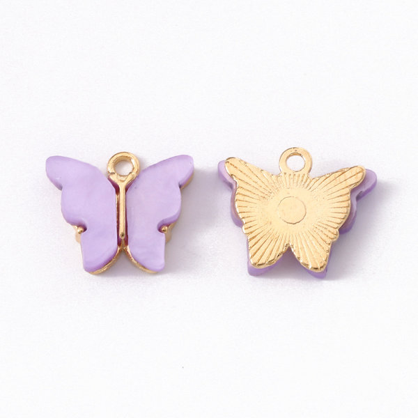 Butterfly Charm Acrylic Golden Lilac 14x16mm
