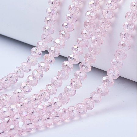 80 pieces Faceted Beads Light Pink Shine 4x3mm