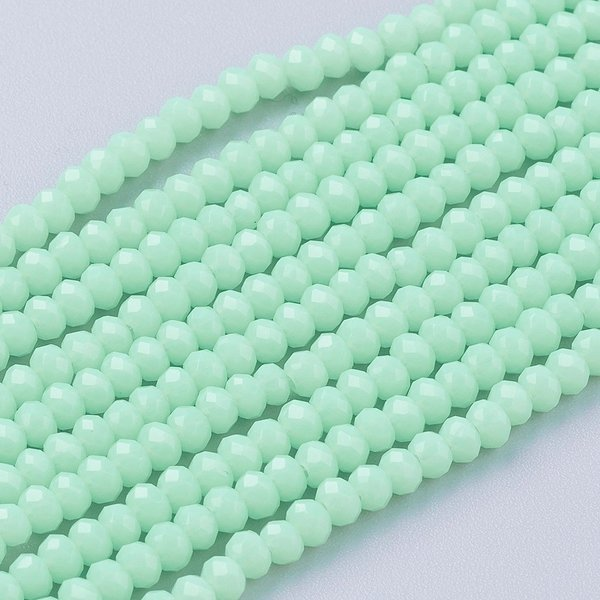 Faceted Beads Mint Green 3x2.5mm, 80 pieces