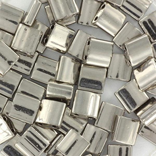 Miyuki Tila 5x5mm Plated Nickel, 35 Pieces