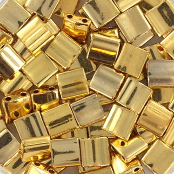Miyuki Tila 5x5mm Plated Gold, 35 Pieces