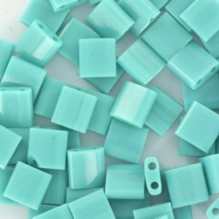 35 Pieces Miyuki Tila 5x5mm Opaque Turquoise Green