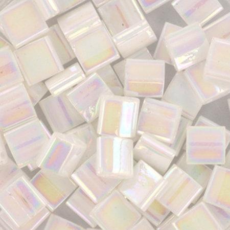 35 Pieces Miyuki Tila 5x5mm Ab White Pearl