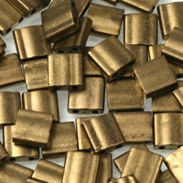 Miyuki Tila 5x5mm Metallic Matte Dark Bronze, 35 Pieces