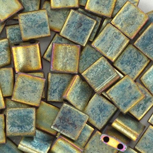 35 Pieces Miyuki Tila 5x5mm Metallic Matte Patina Iris