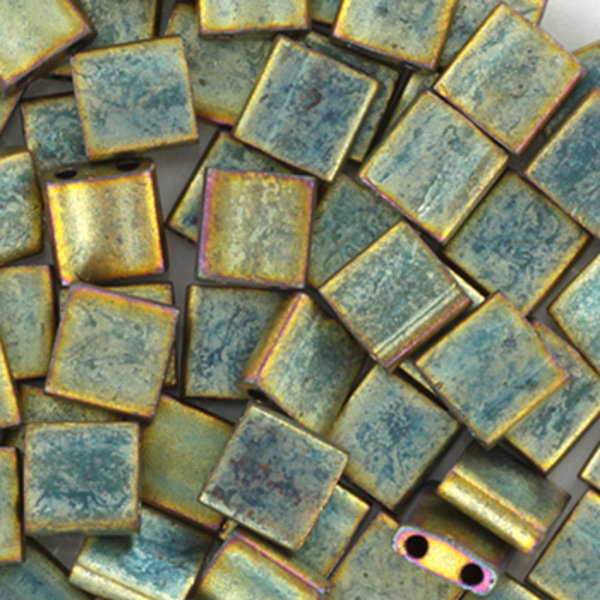 Miyuki Tila 5x5mm Metallic Matte Patina Iris, 35 Stuks