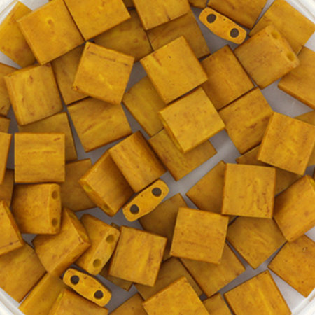 35 Pieces Miyuki Tila 5x5mm Opaque Matte Mustard