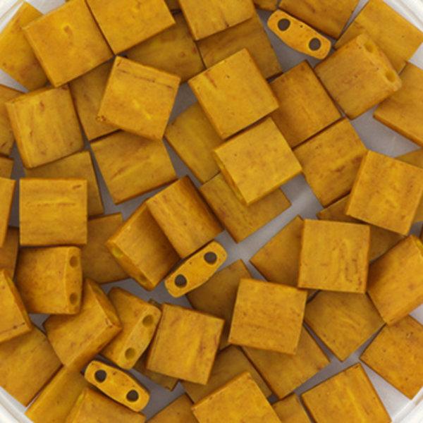 Miyuki Tila 5x5mm Opaque Matte Mustard, 35 Pieces