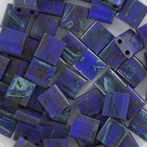 35 Stuks Miyuki Tila 5x5mm Opaque Cobalt Picasso
