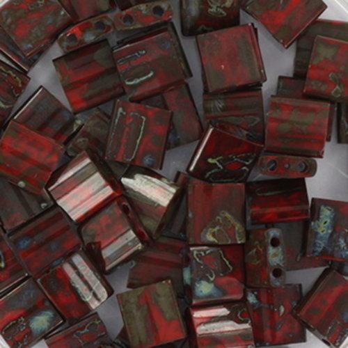 35 Pieces Miyuki Tila 5x5mm Opaque Picasso Red