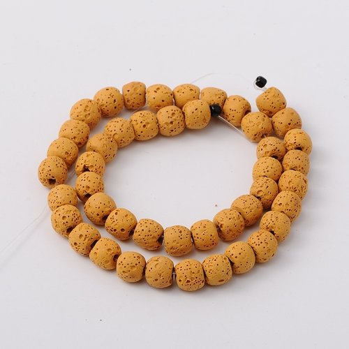 Natural Lavabeads Ochre Yellow 8mm, Strand 48 Pieces