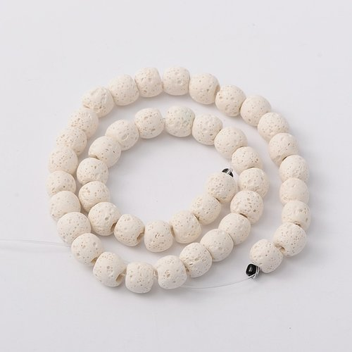 Natural Lavabeads Off White 8mm, Strand 48 Pieces