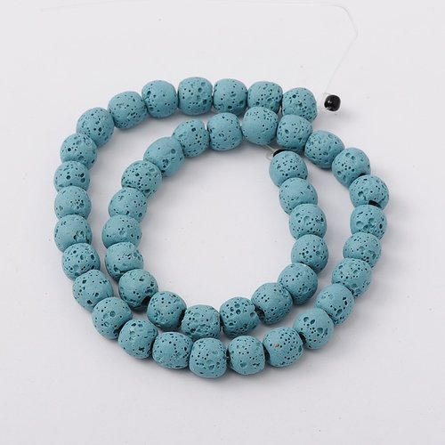Natural Lavabeads Blue 8mm, Strand 48 Pieces