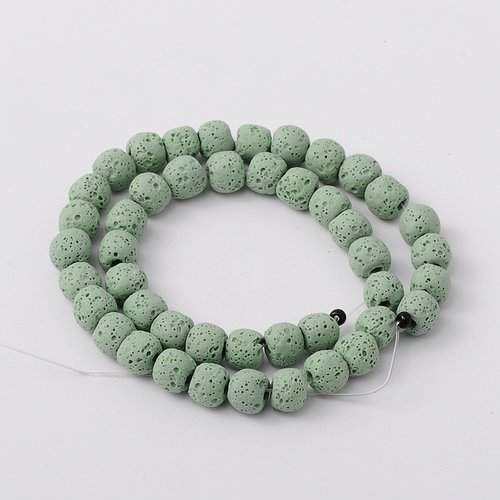 Natural Lavabeads Green 8mm, Strand 48 Pieces
