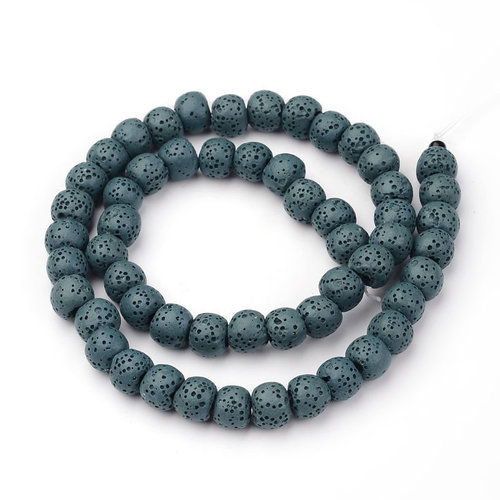Natural Lavabeads Petrol Green 8mm, Strand 48 Pieces