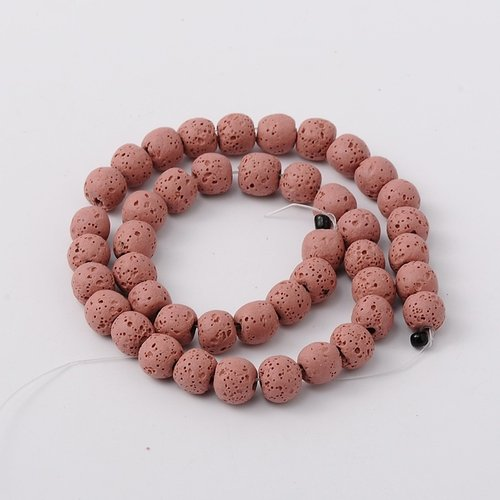 Natural Lavabeads Coral 8mm, Strand 48 Pieces