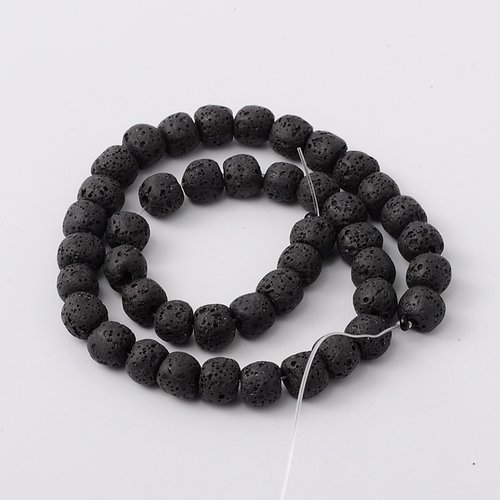 Natural Lavabeads Black 8mm, Strand 48 Pieces