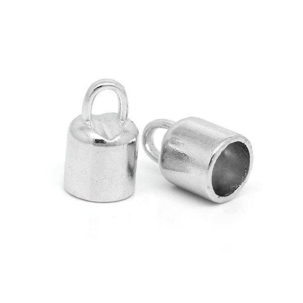 Eindkap Zilver voor 6mm Leer, 6 stuks