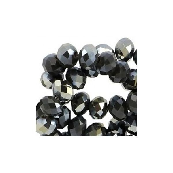 Faceted Glassbeads Black Shine 3x2mm, 100 pieces