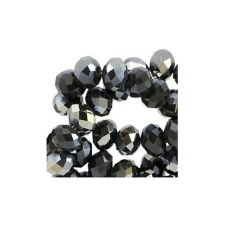 50 pcs Faceted Beads Black Shine 6x4mm