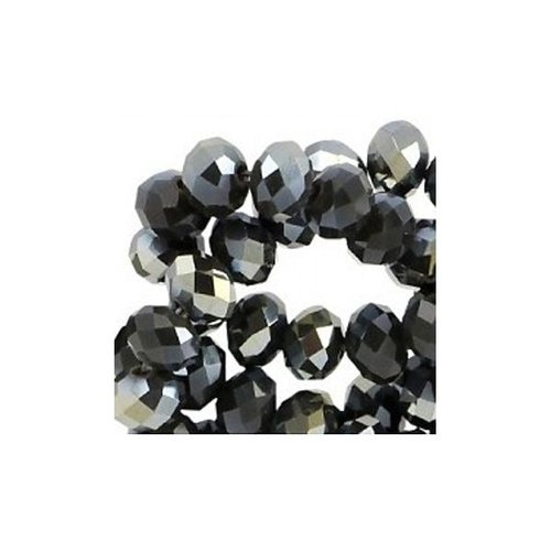 50 pcs Facet Bead Black Shine 6x4mm