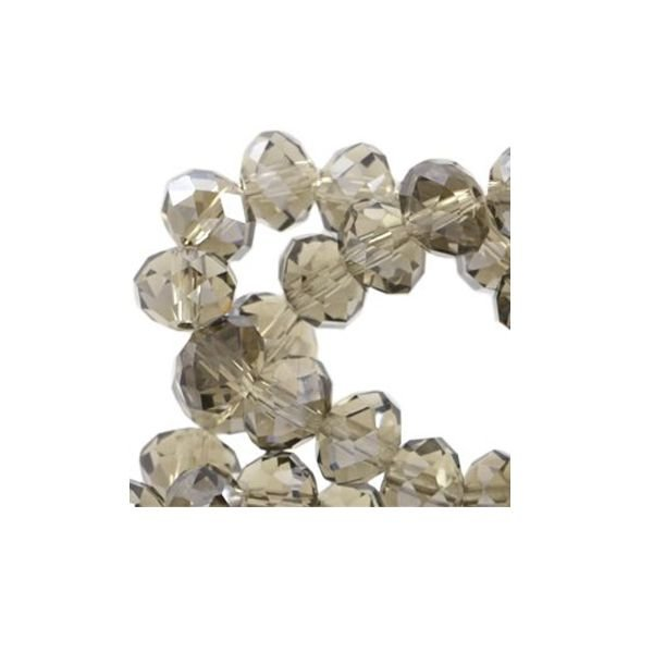 Facet Bead Gray 6x4mm, 50 pieces