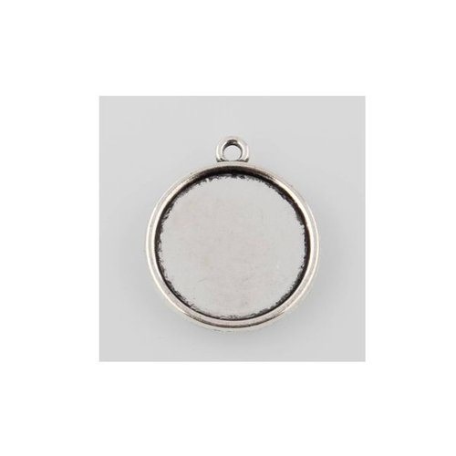 Charm Silver fits 20mm Cabochon, 5 pieces