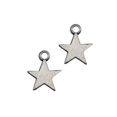 20 pcs Charm Star Silver 8x11mm Nickel Free