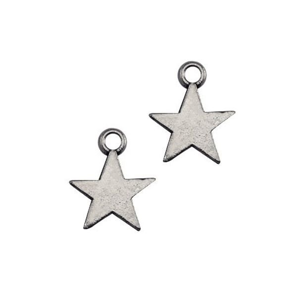 Charm Star Silver 8x11mm Nickel Free, 20 pieces