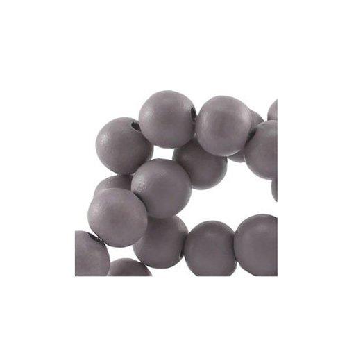 100 stuks Houten Kralen Grijs 6mm