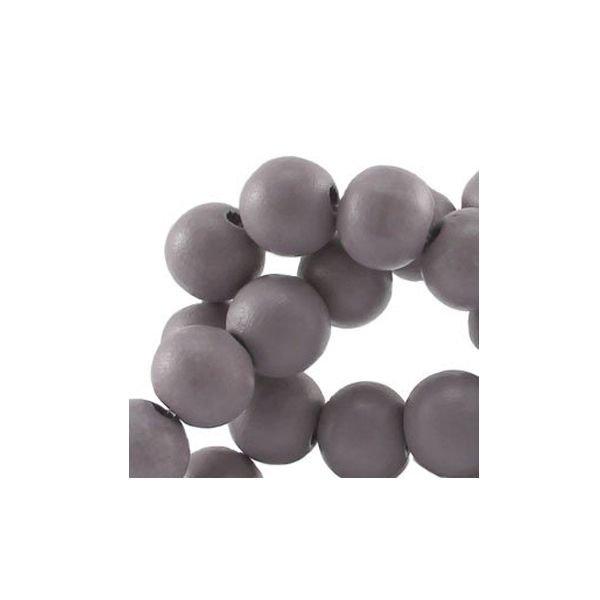 Houten Kralen Grijs 6mm, 100 stuks
