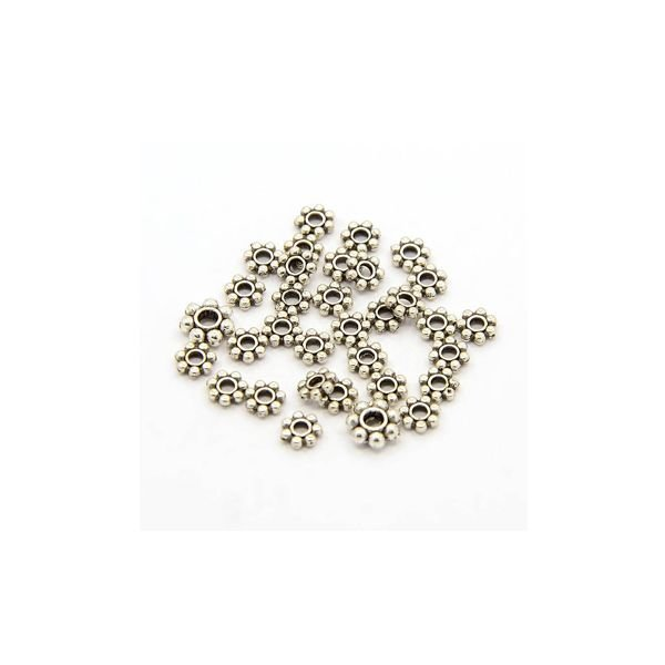 Spacer Beads Flower Silver 4mm, 100 pieces