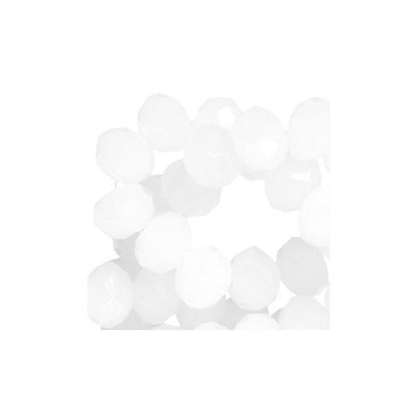 Facet Glaskralen Wit 8x6mm, 30 stuks